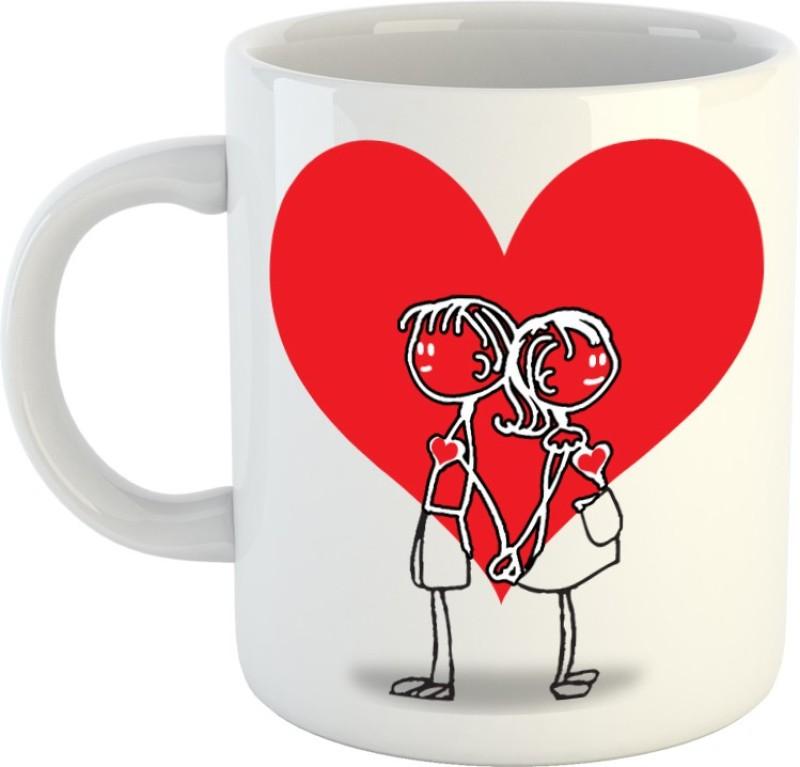 HuppmeGift Heart Red White Ceramic Mug(350 ml)