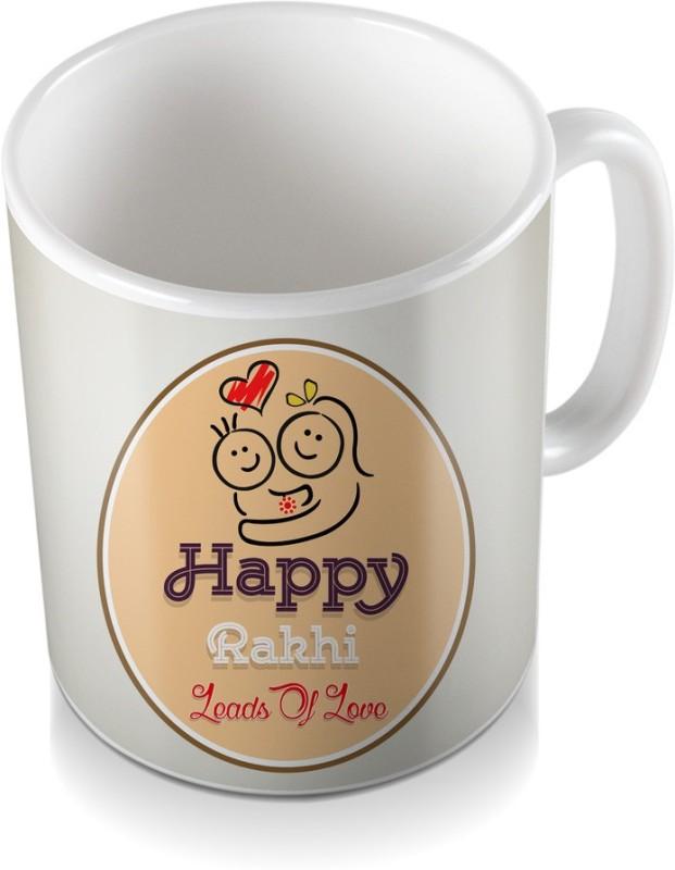 SKY TRENDS Happy Rakhi Leads of Love Heart Light Cream Color Shade Gifts Rakshabandhan Coffee Ceramic Mug(320 ml)