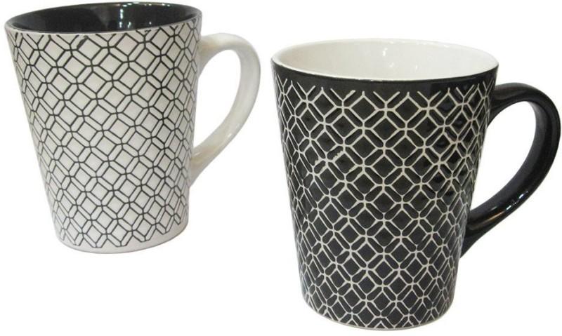 MOM Italy Diamond 2pc Set Ceramic Mug(400 ml, Pack of 2)