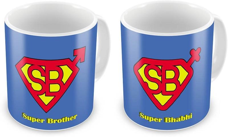 Indian Gift Emporium Super Brother n Super Bhabhi Printeds Pair 690 Ceramic Mug(300 ml, Pack of 2)