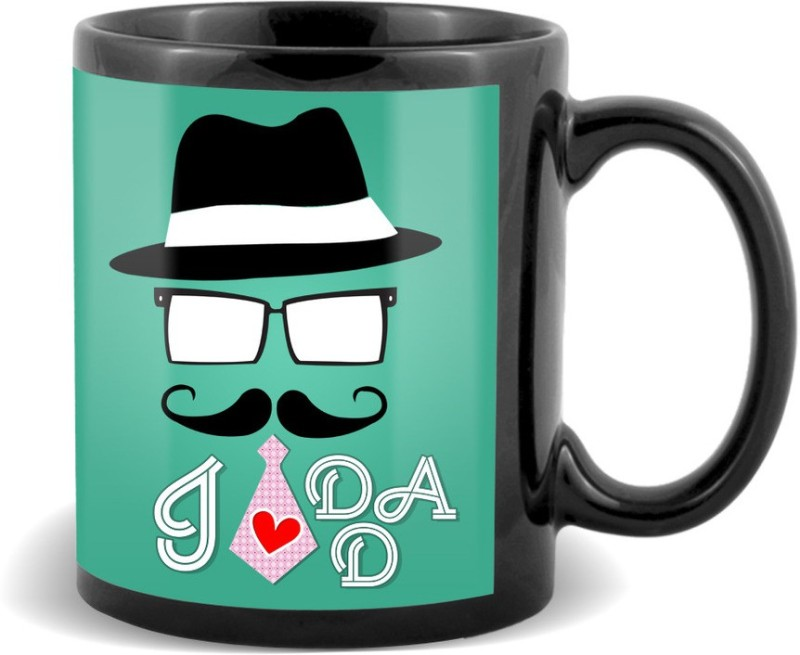 SKY TRENDS I Love Dad With Stylish Cap And Red Tie Best Gifts For Father's Day Black Coffee Ceramic Mug(320 ml)