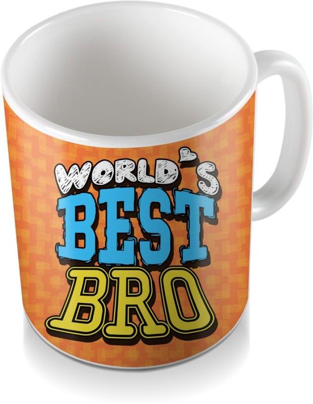 SKY TRENDS World's Best Bro For Orange Color And Shde Design Gifts Happy Rakshabandhan Coffee Ceramic Mug(320 ml)