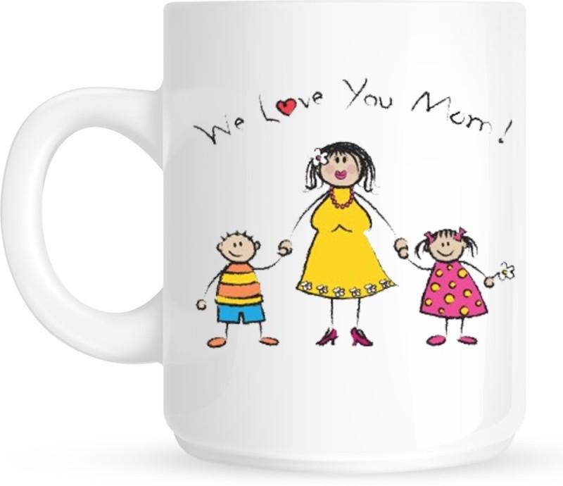 HuppmeGift Love You Mom White Ceramic Mug(350 ml)