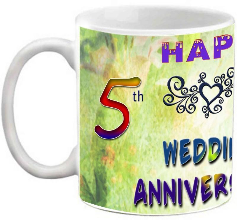 EFW Happy 5th Wedding Anniversary Photo Personalized Ceramic Mug(325 ml)