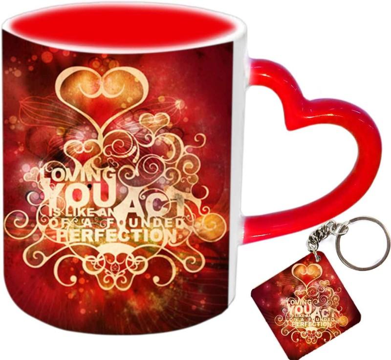 Raj Laxmi shinning heart keyring red handle valentine Ceramic Mug(350 ml)