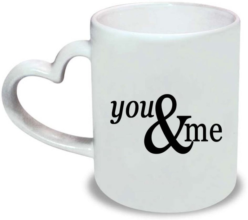HuppmeGift You & Me Heart Handle Ceramic Mug(350 ml)