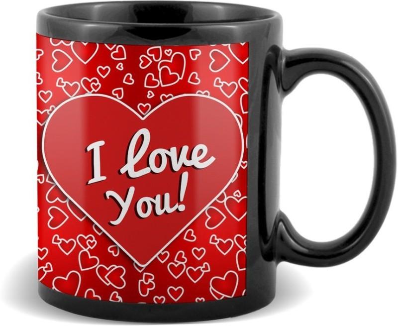 SKY TRENDS I Love You With Heart Background Black Coffee Valetine's Ceramic Mug(320 ml)