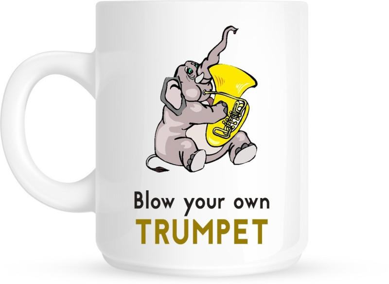 HuppmeGift Trumpet White Ceramic Mug(350 ml)