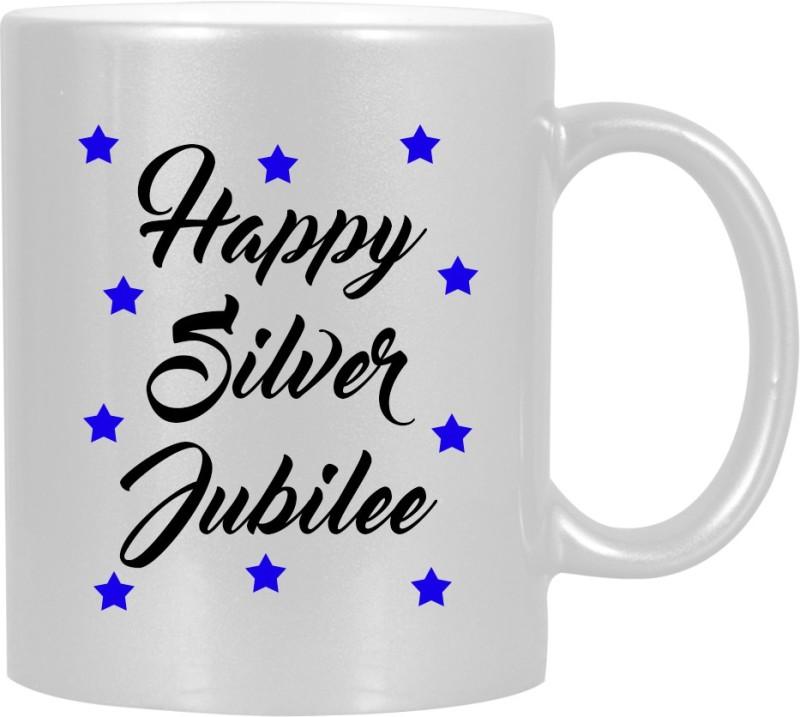 HuppmeGift Happy Silver Jubilee Silver Ceramic Mug(350 ml)