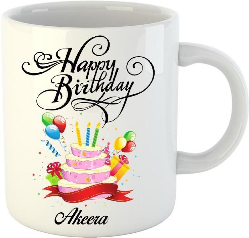 HuppmeGift Happy Birthday Akeera White (350 ml) Ceramic Mug(350 ml)