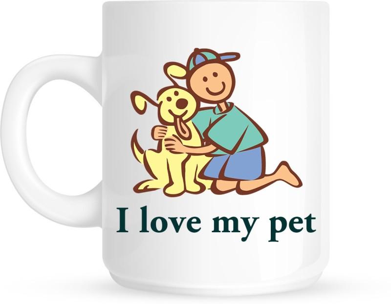 HuppmeGift Pet Love White Ceramic Mug(350 ml)