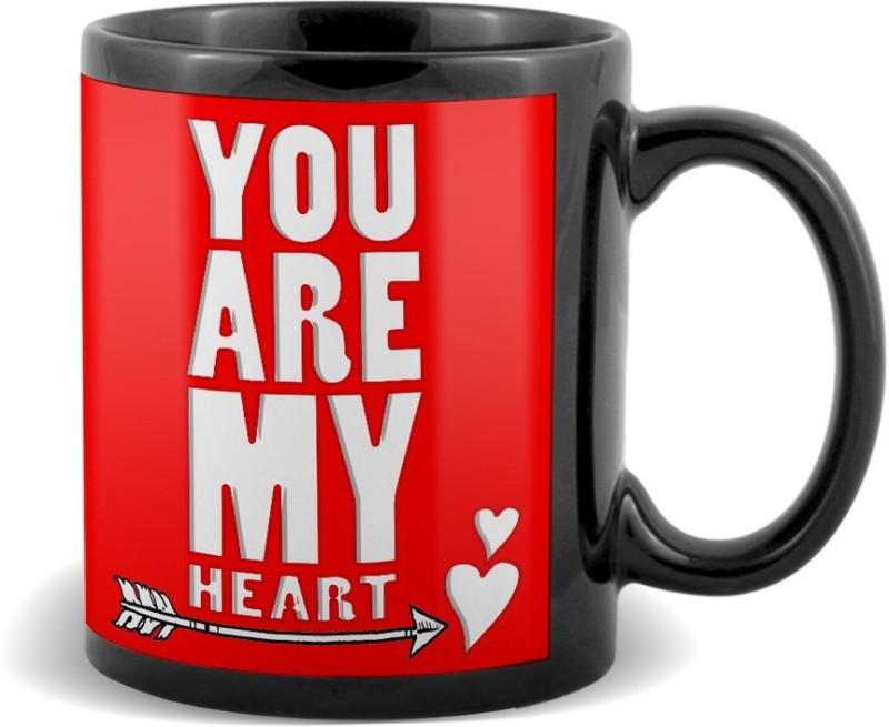 SKY TRENDS You Are My Heart With Arrow Black Coffee Valetine's Ceramic Mug(320 ml)