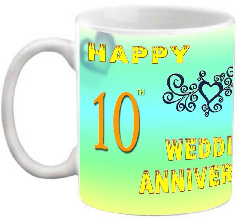 EFW Happy 10th Wedding Anniversary 325ml Photo Personalized Ceramic Mug(325 ml)