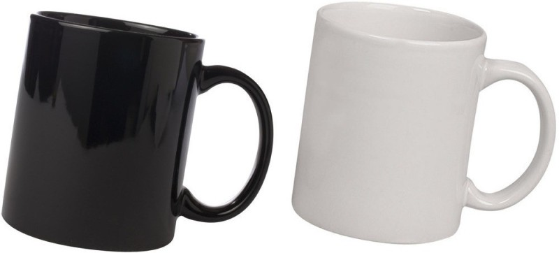 Snapgalaxy Black and White Combo Pack 2pcs Ceramic Mug(640 ml, Pack of 2)