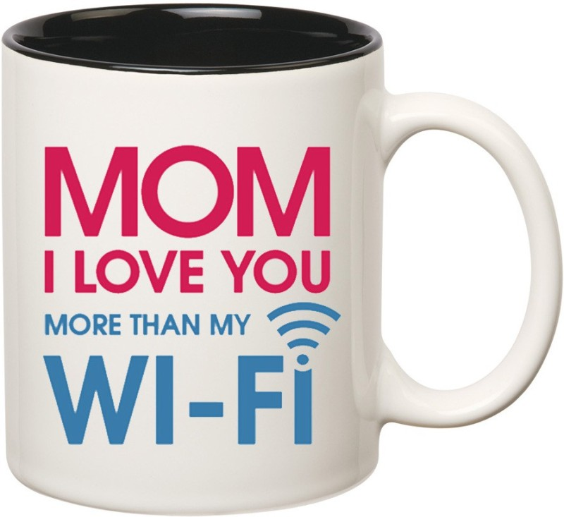 HuppmeGift Mom Love Inner Black Ceramic Mug(350 ml)