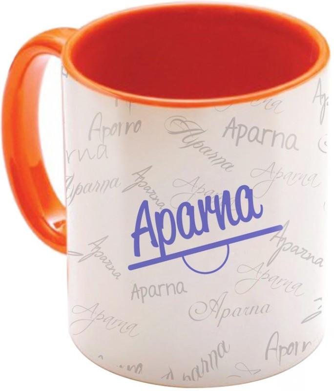 SKY TRENDS Aparna Birthday Gift Orange Coffee 350 ML Ceramic Mug(350 ml)