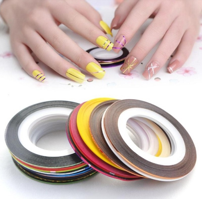 Looks United 30 X Random Color Nail Art Striping Rolls Tape Nail Sticker Nail Tip Decoration(Mix Color)
