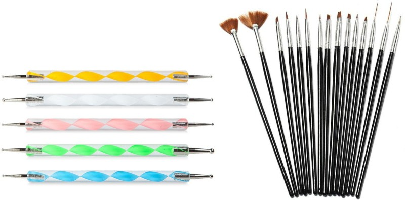 Looks United 15 Nail Art Brushes And 5 Dotting Tool ( Pack of 20 )(multi)