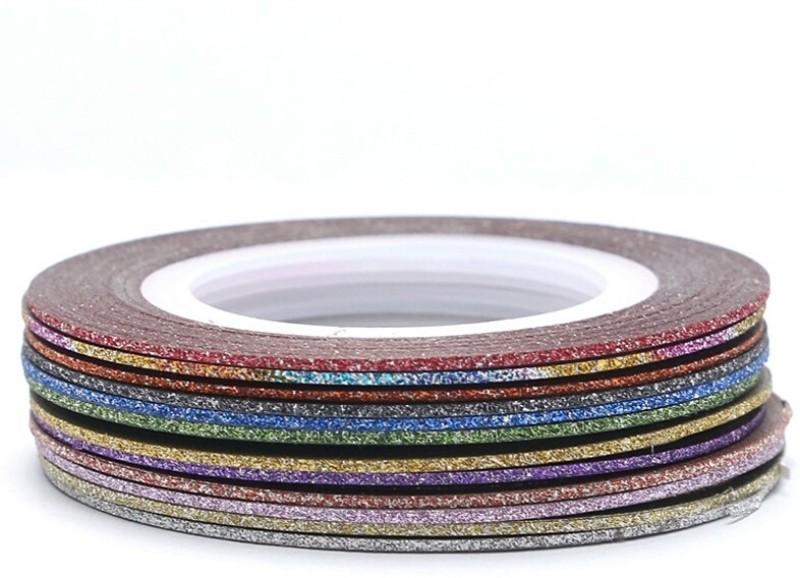 Looks United 10 Mixed Color Glitter Self Adhesive Nail Art Striping Tape Rolls(Multi)