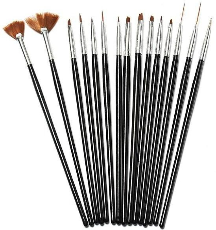 Looks United 15pcs High Quality Nail Art Design Dotting Painting Drawing UV Polish Brush Pen Tools Set Kit Black(Black)