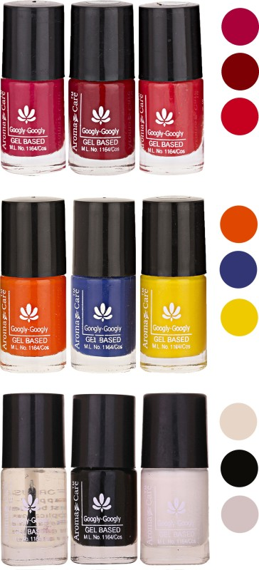 Aroma Care Gel Based Nail Paint Set Of 9 Pcs Multicolor Set 124(Pack of 9)
