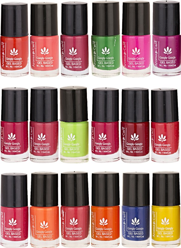 Aroma Care Pack Of 18 Gel Based Nail Paint (3) Magenta, Purple, Green, Brown, Blue, Pink, Orange, Yellow(Pack of 18)