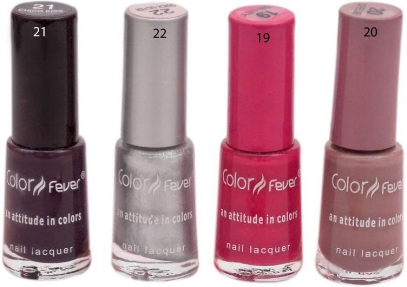 Color Fever Premium Nail Polish Kit (Set Of 4) Mat Pink, Silver, Dark Mehroon, Coffee Cake