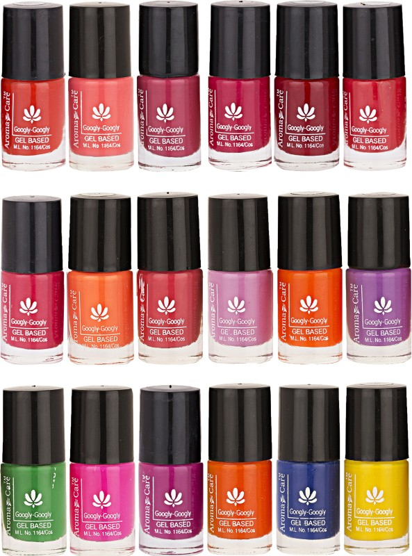 Aroma Care Pack Of 18 Gel Based Nail Paint (18) Magenta, Purple, Green, Brown, Blue, Pink, Orange, Yellow(Pack of 18)