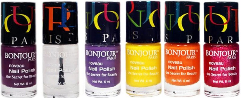 Bonjour Paris Hot Six Nail Polish Combo 1 Multicolor(Pack of 6)