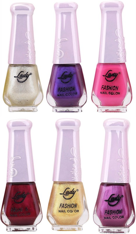 Lady Fashion Nail Polish 2512201601 Multicolor,(Pack of 6)