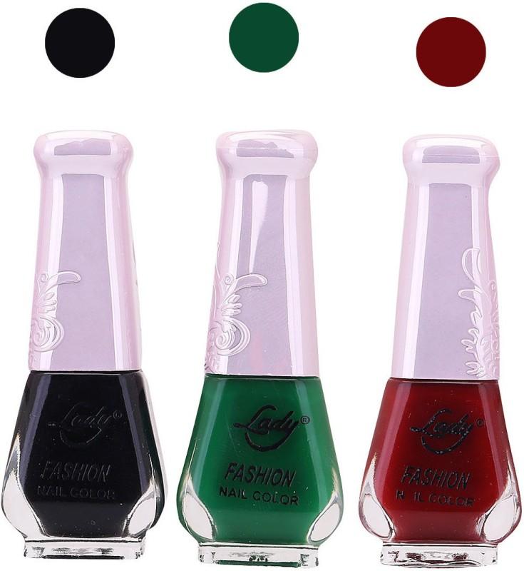 Lady Fashion Nail Polish 2508201612 Black,Green,Maroon,(Pack of 3)