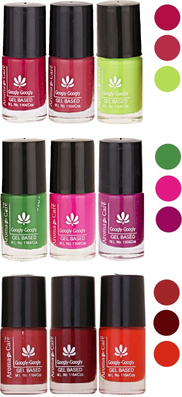 Aroma Care Gel Based Nail Paint Set Of 9 Pcs Multicolor Set 41(Pack of 9)