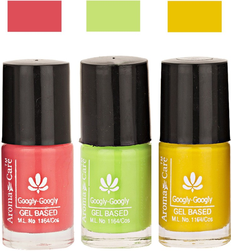 Aroma Care Googly Gel Nail Polish 46201639 Multicolor,(Pack of 3)