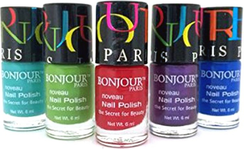 Bonjour Paris Mix Color Nail Polish 12 Multicolor,(Pack of 5)