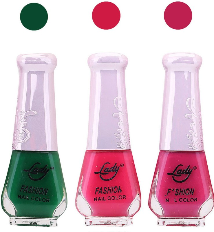 Lady Fashion Nail Polish 0410201611 Green,Pink,Purple,(Pack of 3)