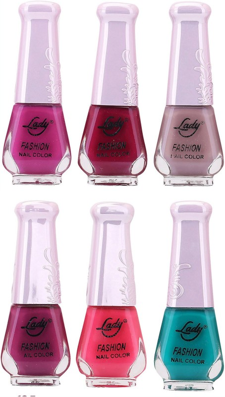 Lady Fashion Juicy Nail Polish 2612201603 Multicolor,(Pack of 6)