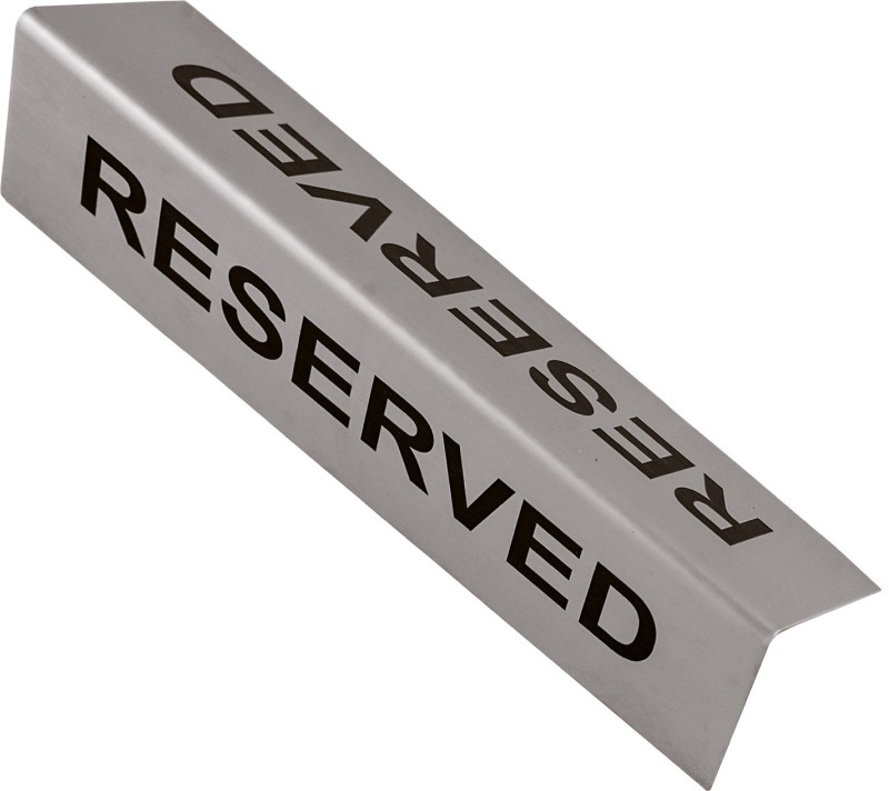 SHREYAS SIGNAGES Steel RESERVED Double side bending type plate, Stainless Steel Etching Plate Name Plate(Black)