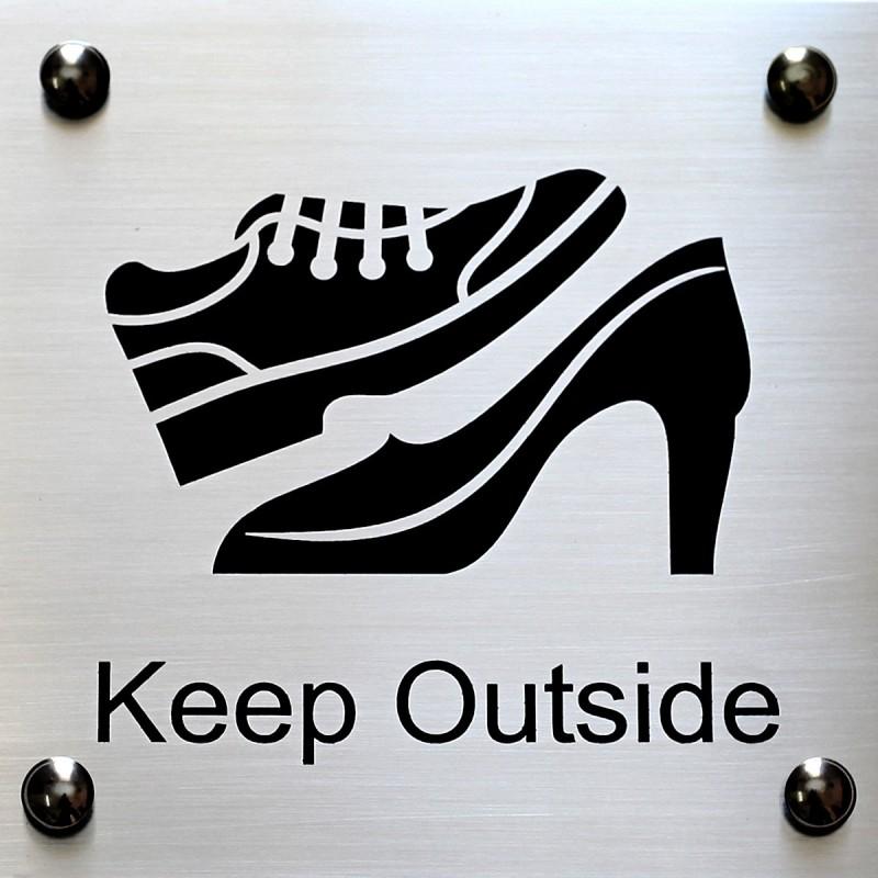 SHREYAS SIGNAGES Steel KEEP OUTSIDE(SHOES), REMOVE SHOES/CHAPPAL OUTSIDE Name Plate(Black)
