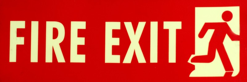 SIGNAGES Plastic FIRE EXIT SIGN IN NIGHT GLOW Name Plate(Red)