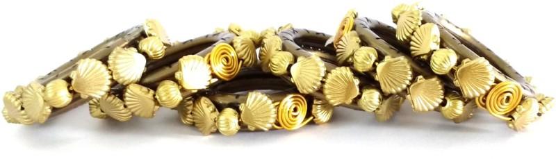 JewelKraft Designs 926 Set of 6 Napkin Rings(BROWN, GOLDEN)