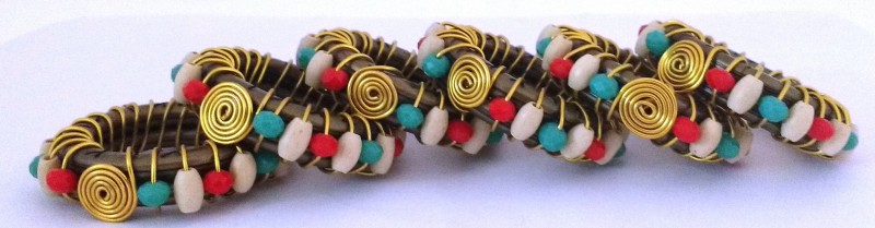 Jewelkraft Designs 919 Set of 6 Napkin Rings(Brown, Gold, Red, Turquoise)