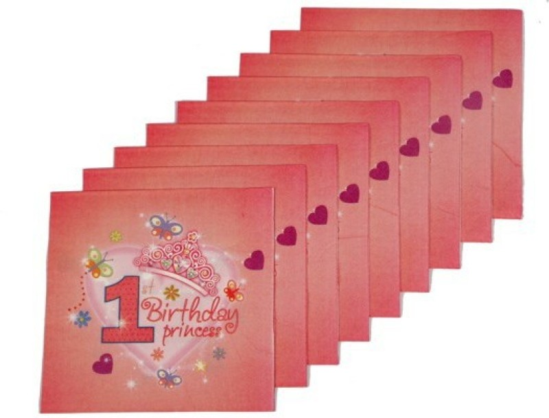 Funcart Sweet At One Princess Red Napkins(9 Sheets)