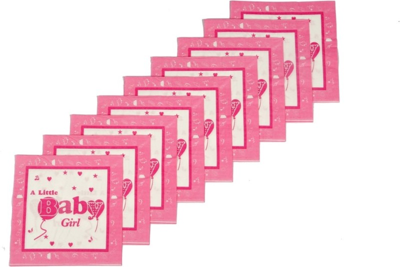 Funcart Little Baby Girl Pink Napkins(9 Sheets)