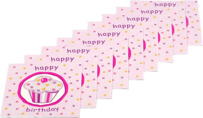 Funcart Sweet Treat Cupcake Pink Pink Napkins(9 Sheets)