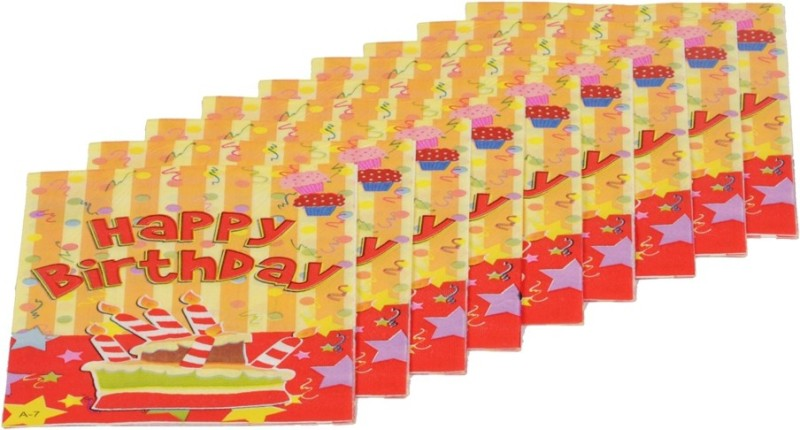 Funcart Stripe birthday Multicolor Napkins(9 Sheets)