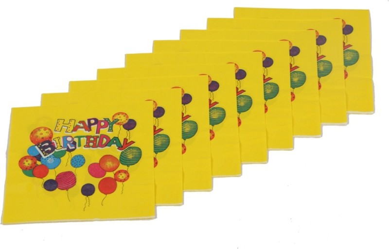 Funcart Colorful Balloons Yellow Napkins(9 Sheets)