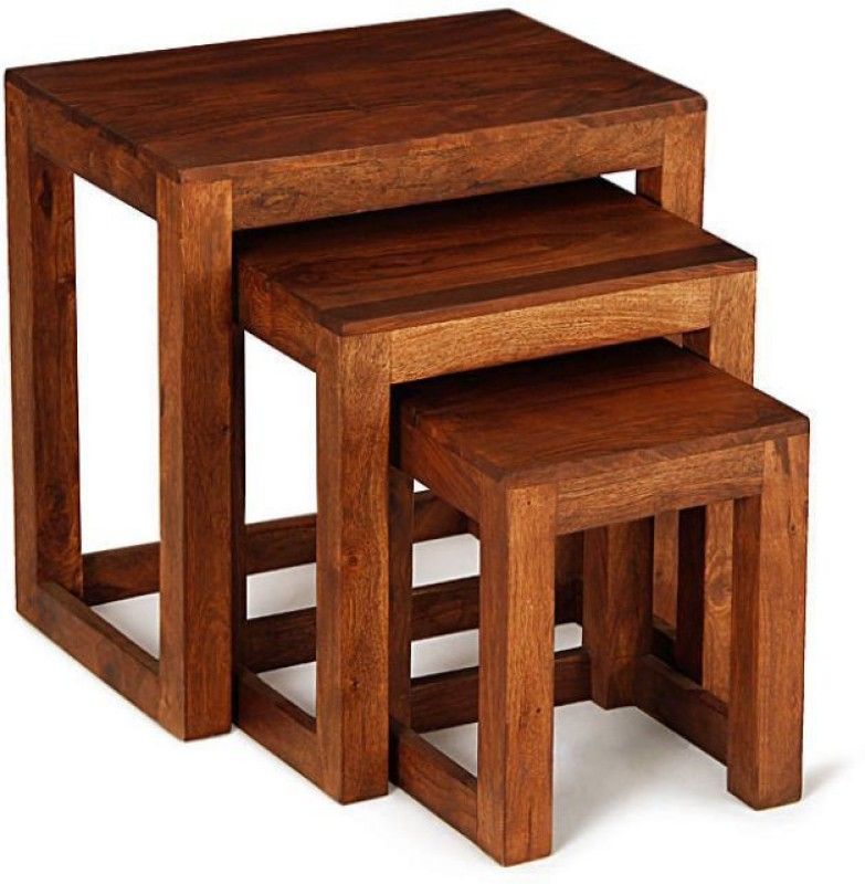Kingscrafts Solid Wood Nesting Table(Finish Color - Brown, Set of - 3)