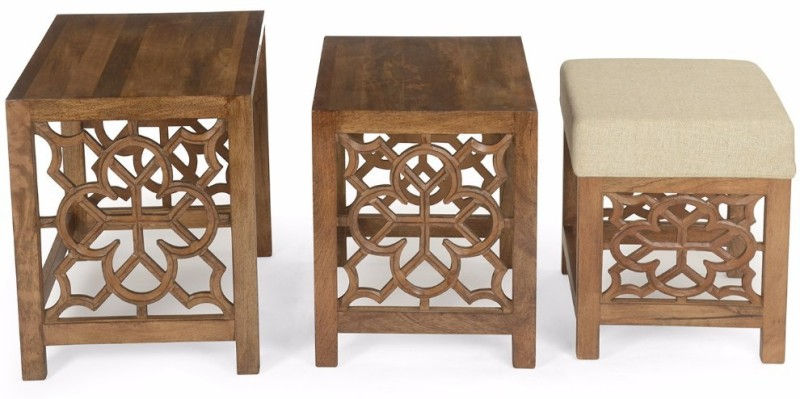 @home by Nilkamal Batik Solid Wood Nesting Table(Finish Color - Cherry, Set of - 3)