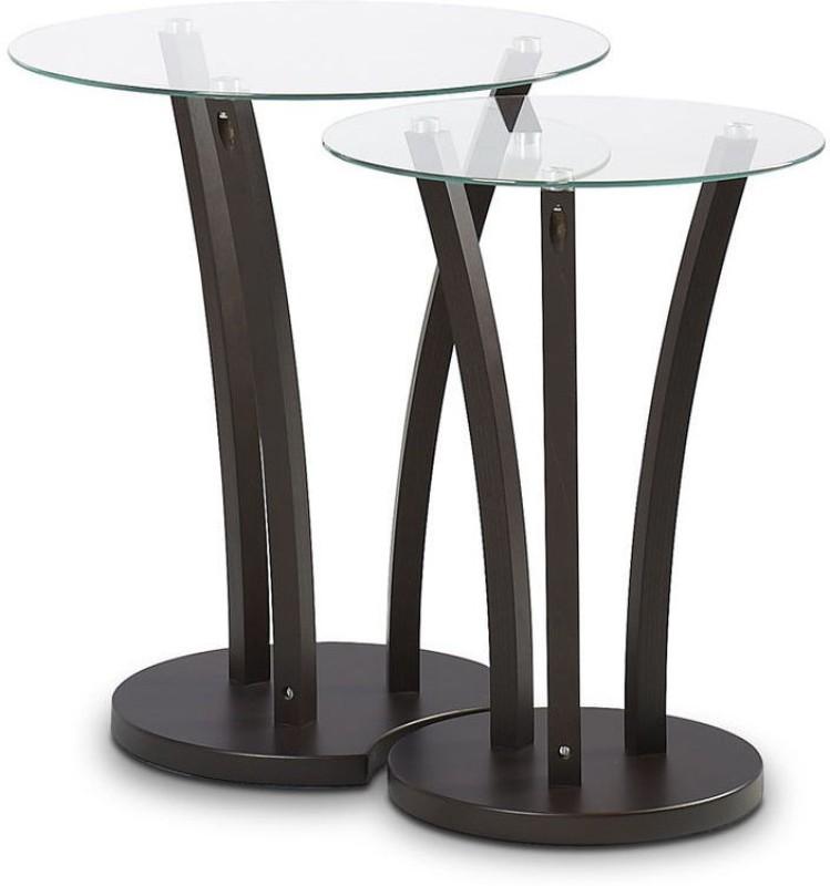 @home by Nilkamal Viola Solid Wood Nesting Table(Finish Color - Wenge, Set of - 2)