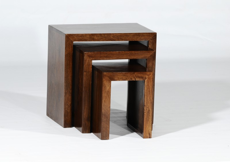 Adroit Furnish Solid Wood Nesting Table(Finish Color - Walnut Brown, Set of - 3)